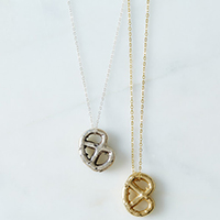 solid brass pretzel necklace gift for teen girl