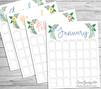 prtinable floral calendar last minute gift idea