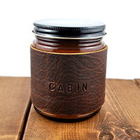 cabin scented leather candle valentines day gift for him